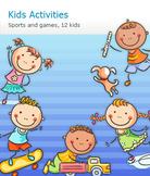Set of Cartoon Kids' Outdoor Activities, Sports and Games