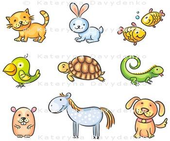 Set of Cartoon Pet Animals