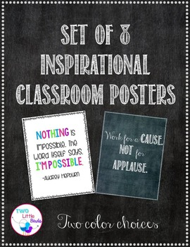 Set of Chalkboard & Brights Inspirational Quotes for Class Decor