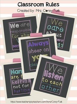 Set of Chalkboard Inspired Classroom Rules