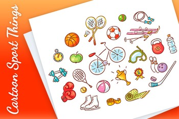 Set of Colorful Cartoon Sport Things