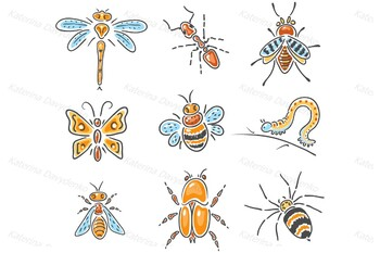 Set of Different Hand-Drawn Sketchy Insects