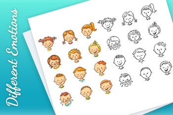 Set of Different Kids with Various Emotions