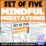 Set of FIVE Grounding, Stress-Relieving MINDFUL MEDITATION