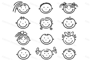 Set of Happy Cartoon Kids Faces