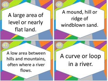 Set of Landforms Task Cards Sort for 3+ Lessons with REAL pictures! 60 cards!