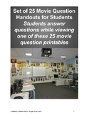 Set of 25 Movie Questions for 25 Movies/Videos for Students - Upper Grades