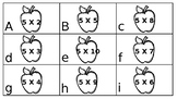 Set of Multiplication by 2's, 3's, 4's, and 5's center or scoot game
