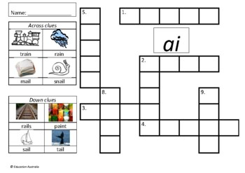 Set of Phonics / Sounds Picture Crosswords - 26 Different Sounds