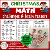 Set of SIX Christmas Math Challenge Brain Teasers