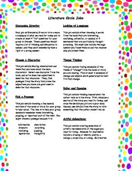 Set of Seven Literature Circle Jobs