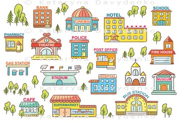 Set of Simple Colorful Cartoon City Buildings with Signs