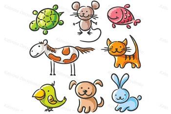 Set of Sketchy Cartoon Pets