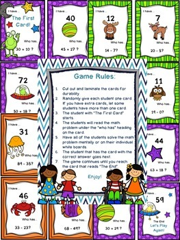 """Set of Three """"I Have...Who Has"""" Addition and Subtraction Games"""