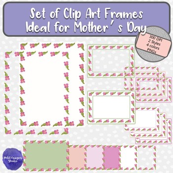 Set of Watercolor Flower Frames Clip Art for Mother's Day