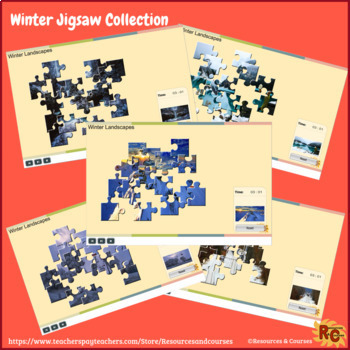 Winter themed Interactive Games & Puzzles Bundle Grade 2-5