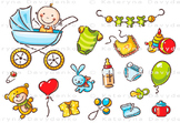 Set of baby things, pattern and frame
