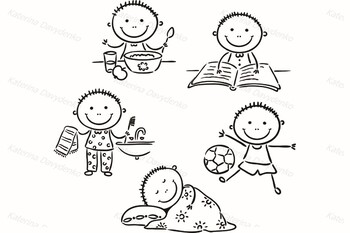 Set of boy and girl daily activities