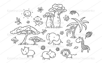 Set of cartoon exotic African animals and plants