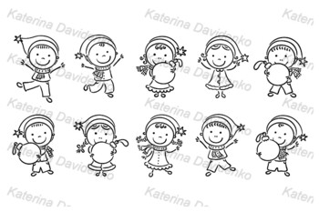 Set of cartoon kids in Santa hats and with Christmas ornaments