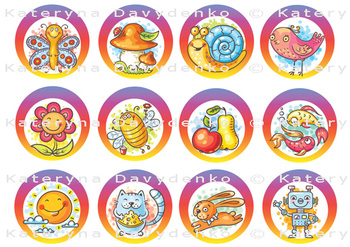 Set of Cartoon Stickers for Encouraging Students