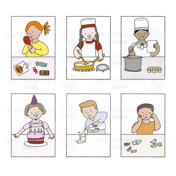 Set of clipart Kids & Food x 18