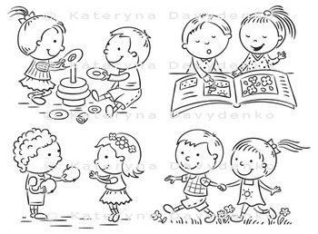 Set of four cartoon illustrations with kids' communication and common activities