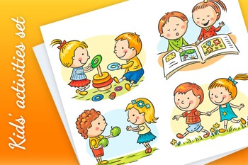 Set of four cartoon illustrations with kids' communication