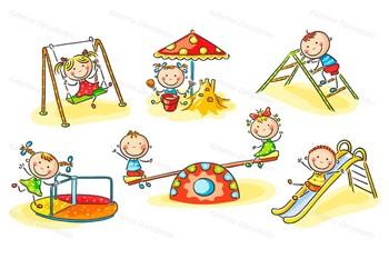 Little cartoon kids on the playground