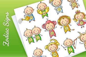 Set of zodiac signs as little babies