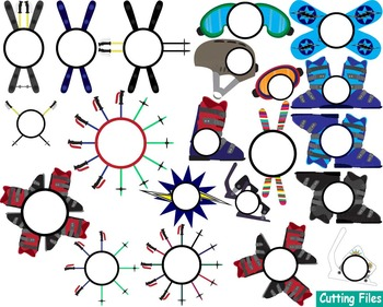 Set skiing and snowboarding Clip art ski snow gear activity sport team cut -46s