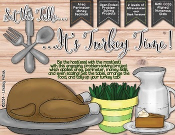 Set the Table, It's TURKEY TIME! {Area, Perimeter, & Budge