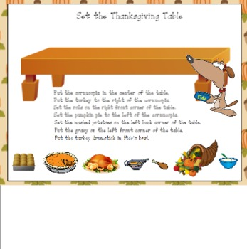Set the Thanksgiving Table Following Directions for the SMART Board