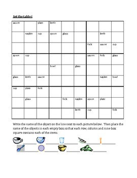 Set the table in English Sudoku