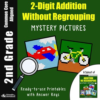 2 Digit Adding Without Regrouping, 2nd Grade Math Homework Sheet Mystery Picture