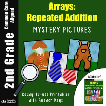 2nd Grade Array Repeated Addition, Adding With Pictures Worksheets
