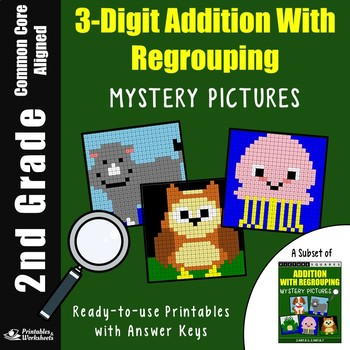 3-Digit Addtion With Regrouping, 2nd Grade Math Color By Number Mystery Pictures