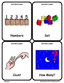 Sets Math Vocabulary Flash Cards