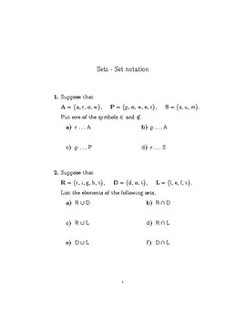 Sets-Set notation