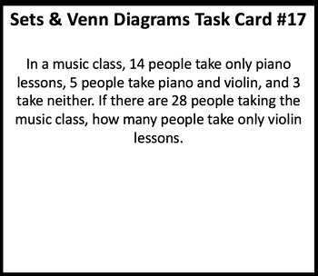 Sets and Venn Diagrams Task Cards