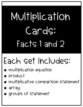 Multiplication Cards: Facts 1 and 2