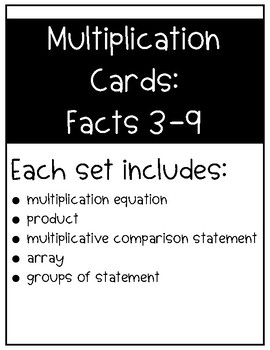 Multiplication Cards: Facts 3-9