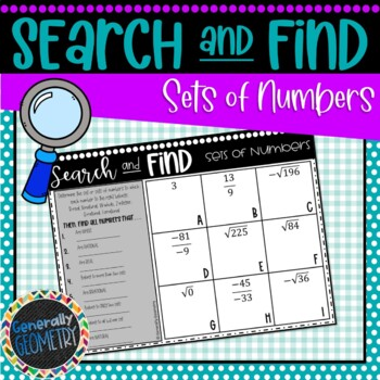 Sets of Numbers Search & Find; Algebra 1
