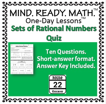 Sets of Rational Numbers Quiz