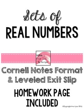 Sets of Real Numbers Cornell Notes with Homework PDF 8.NS.