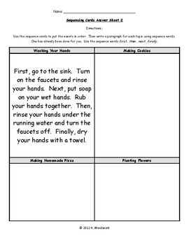 Sets of Sequencing Cards with Two Different Answer Sheets