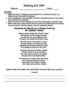 Setting Art Worksheet (Stopping by Woods by Frost)