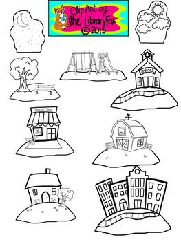 Setting Clip Art Set with Blacklines for Personal or Commercial Use