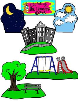 Setting Clip Art Set with Blacklines for Personal or Comme