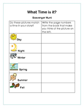 Setting Mini Lesson Scavenger Hunt
